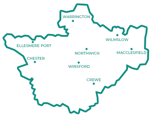 Simplified map of Cheshire region